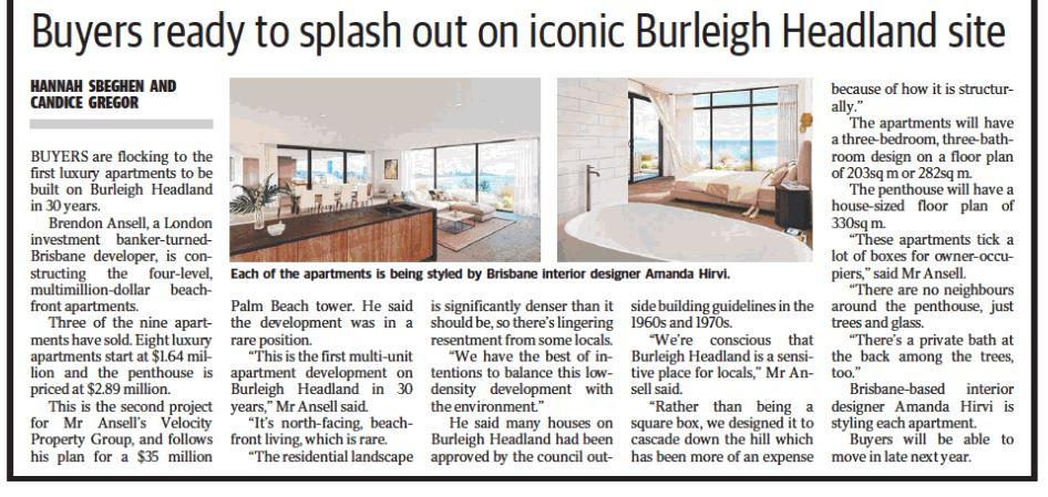 Gold Coast Bulletin ONE Burleigh Headland article 16 August 2016 part 2a