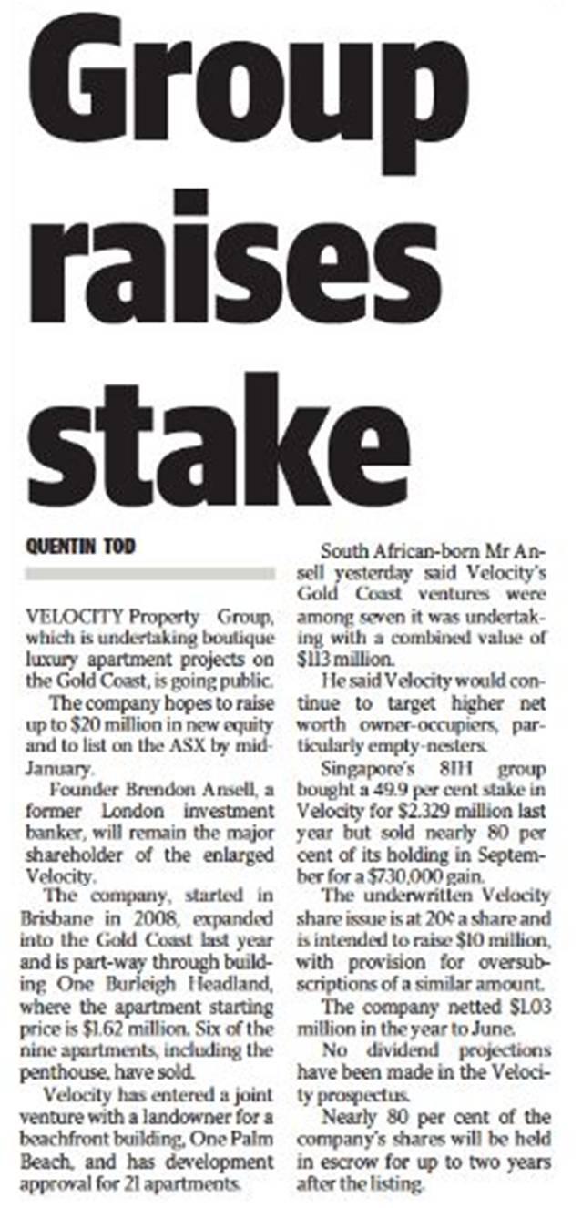 Quentin Tod article Gold Coast Bulletin 11 Nov
