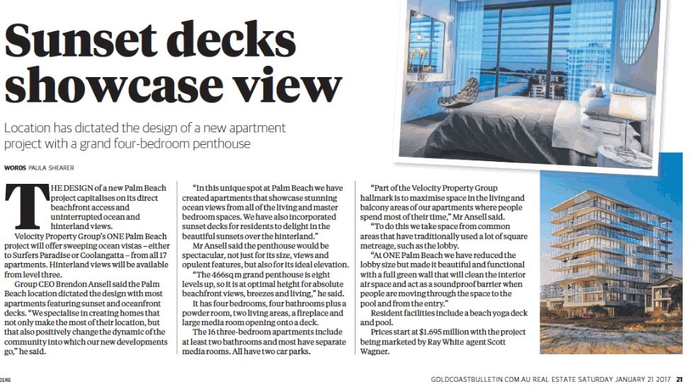 ONE Palm Beach article in Gold Coast Bulletin Real Estate Mag 21 Jan 2017 wording close up