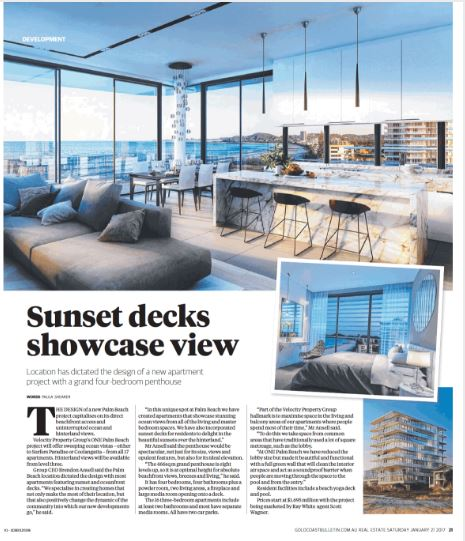 ONE Palm Beach article in Gold Coast Bulletin Real Estate Mag 21 Jan 2017