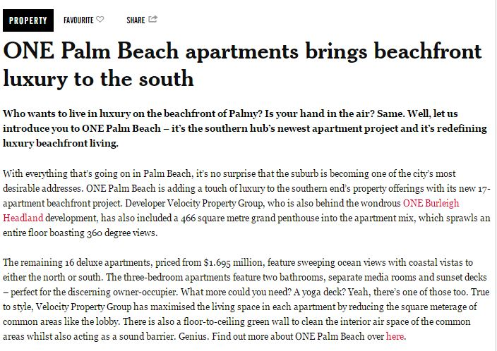 ONE Palm Beach article in The Weekend Edition 2 Feb 2017 2