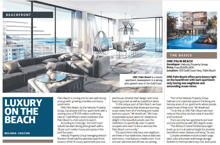 ONE Palm Beach article Home The Courier-Mail Sat 8 April 2017