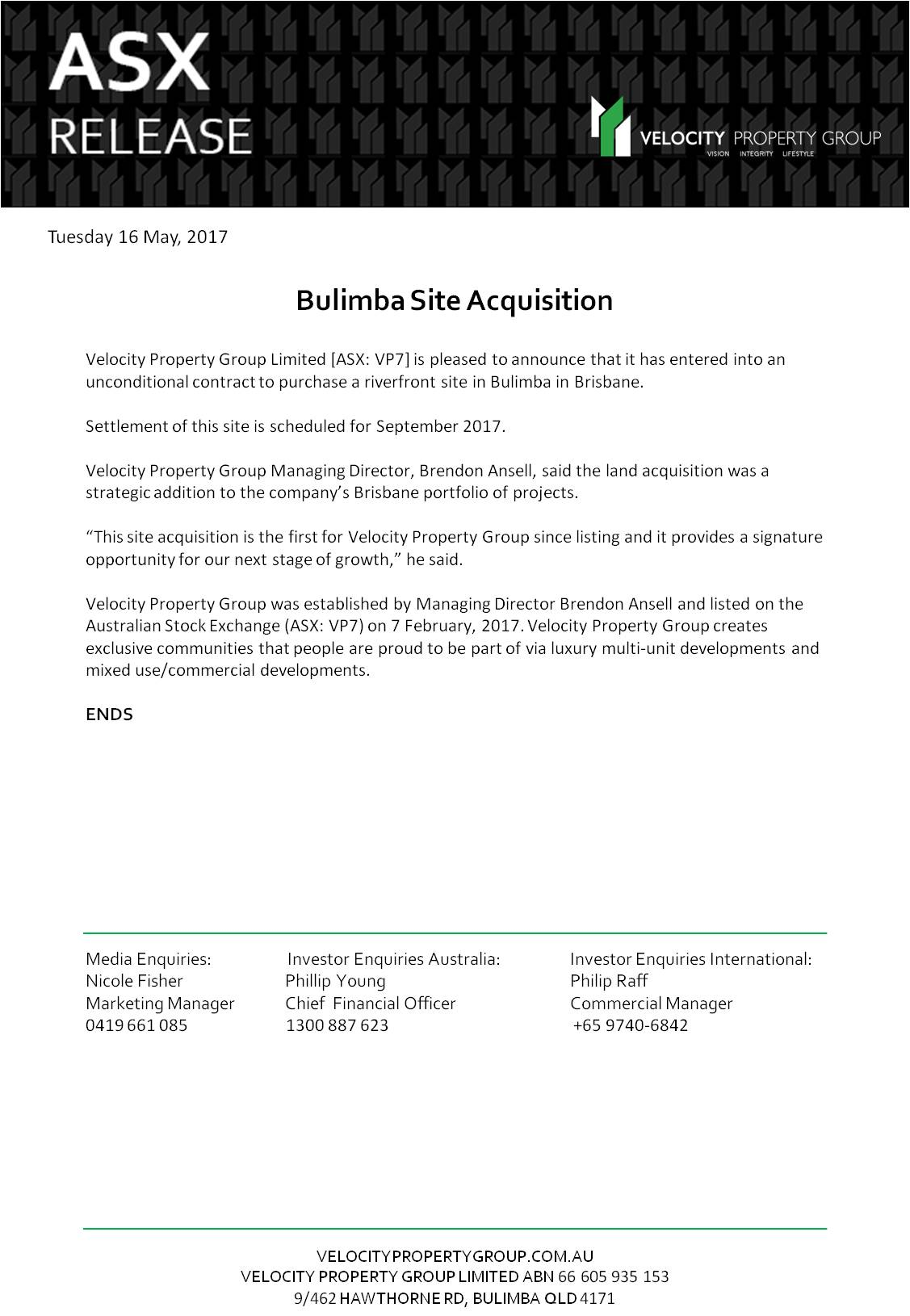 ASX Announcement Bulimba Site Acquisition