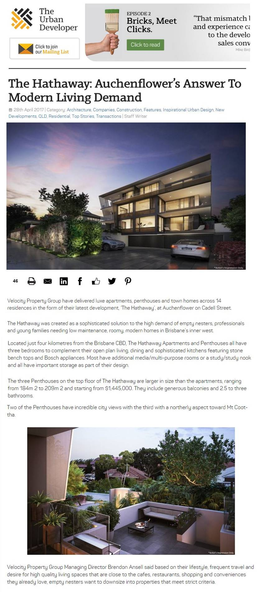 Pt 1The Urban Developer The Hathaway article 1 May 2017